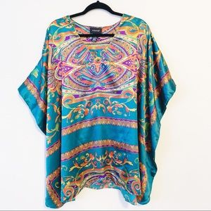 Ashro Paisley Print Satin Kaftan Cover Up Top